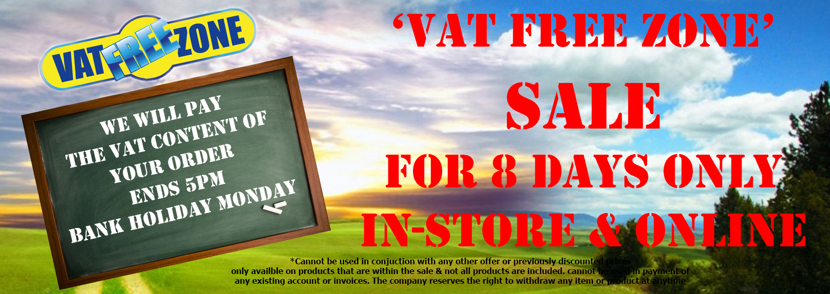 August 2016 Vat free bank holiday