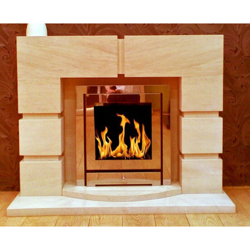 Lattice limestone  fireplace