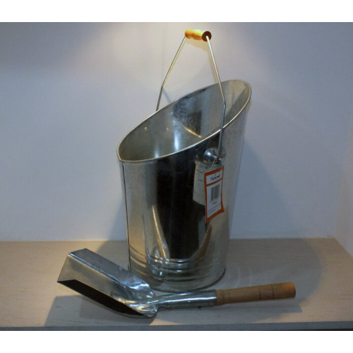Galvanised Coal Bucket with Shovel