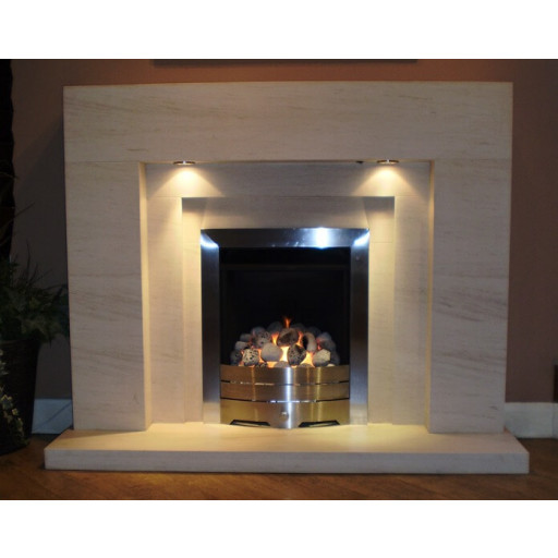 Lister limestone  fireplace with lights