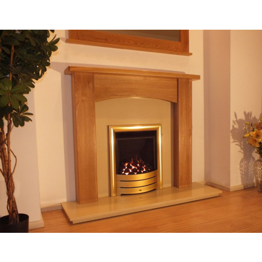 Abbey 48 -  Oak mantel with cream marble