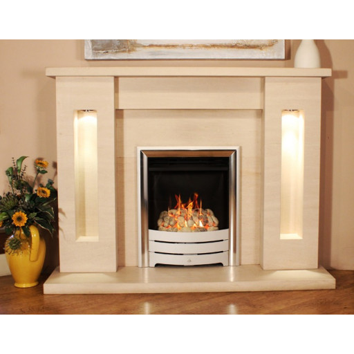 Chapelo Limestone  fireplace with lights