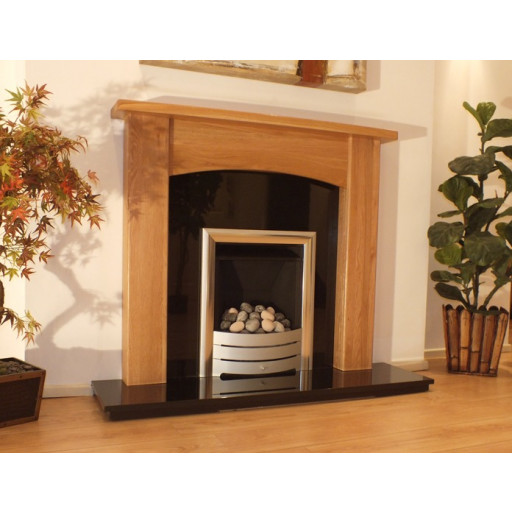 Abbey 48 Oak fireplace mantel with Black Granite