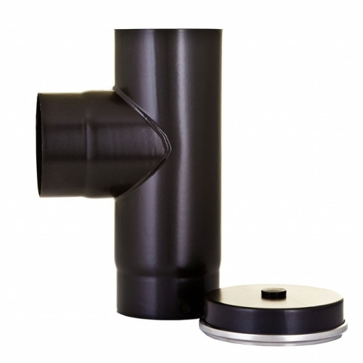 "125mm (6"")  90 degree stove tee piece with cap"