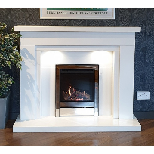 Aprica white marble fireplace