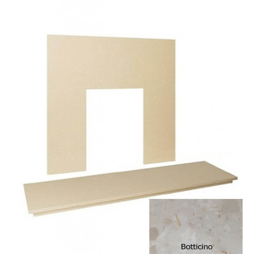 "54"" Marble hearth & back panel set - Botticino Cream #FPW"