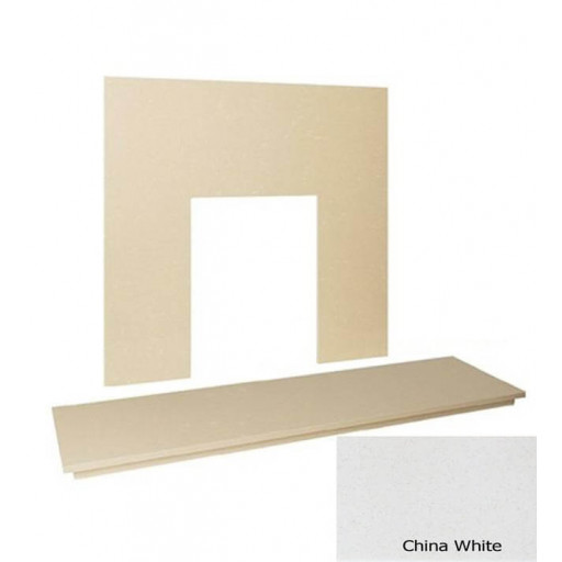 "54"" Marble hearth & back panel set - China White Marble"