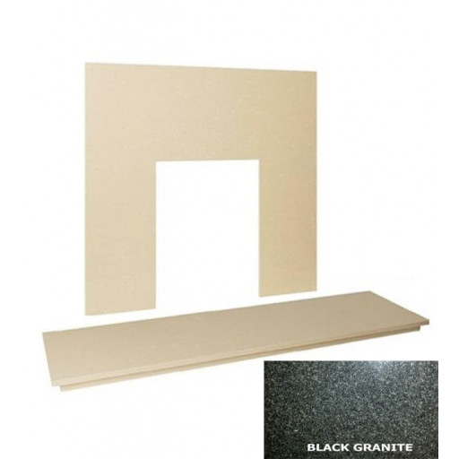"48"" Polished Black granite hearth & back panel set"