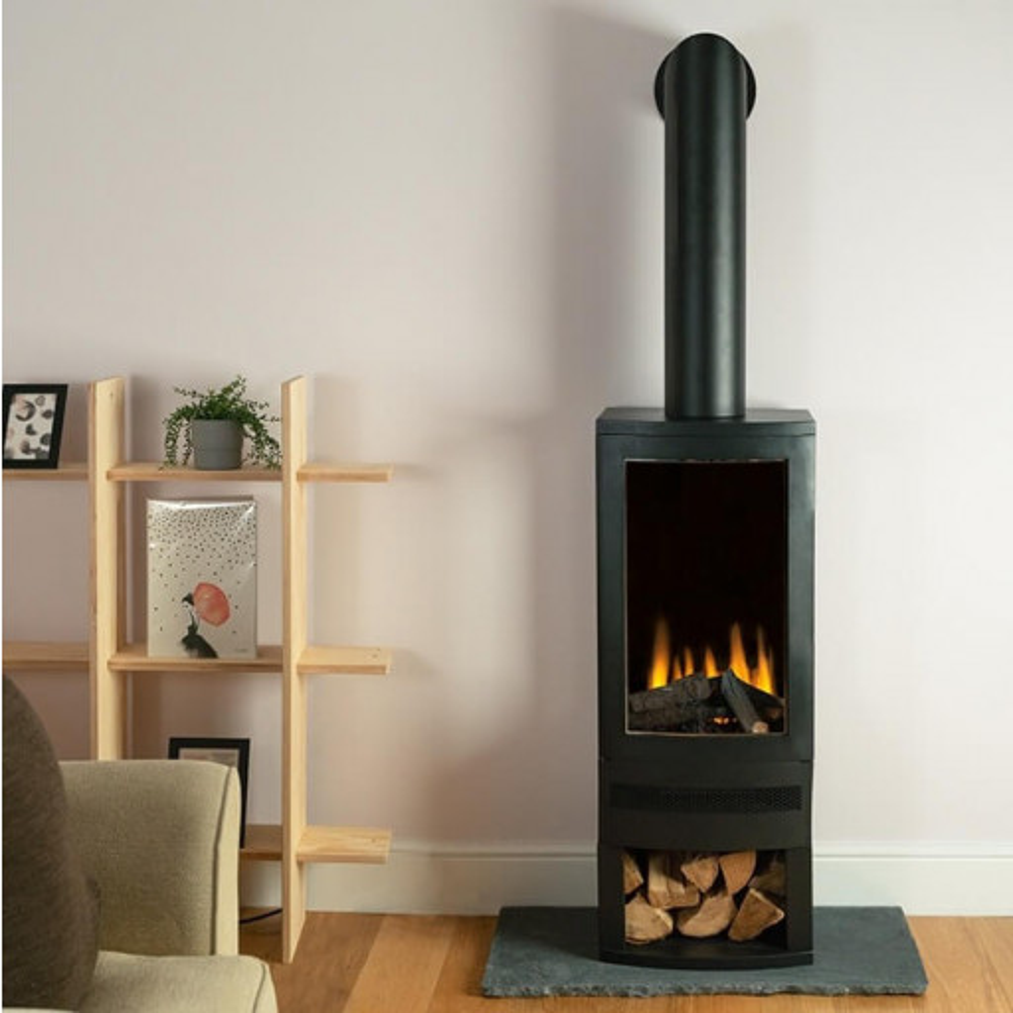 Bramshaw Log Box LED Electric stove