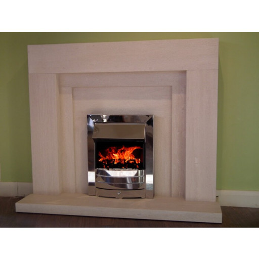 Coral Brushed limestone  fireplace package