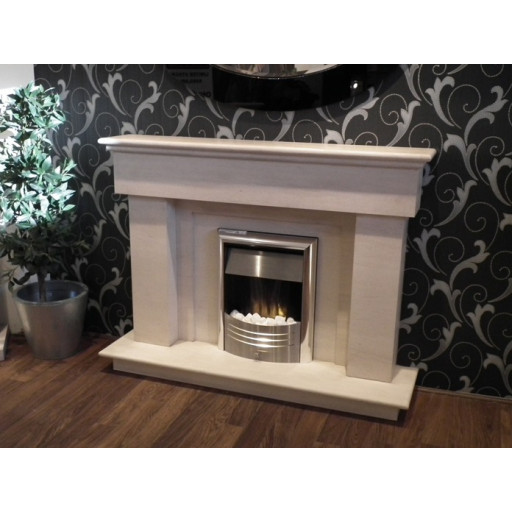 Dellis limestone  fireplace with lights