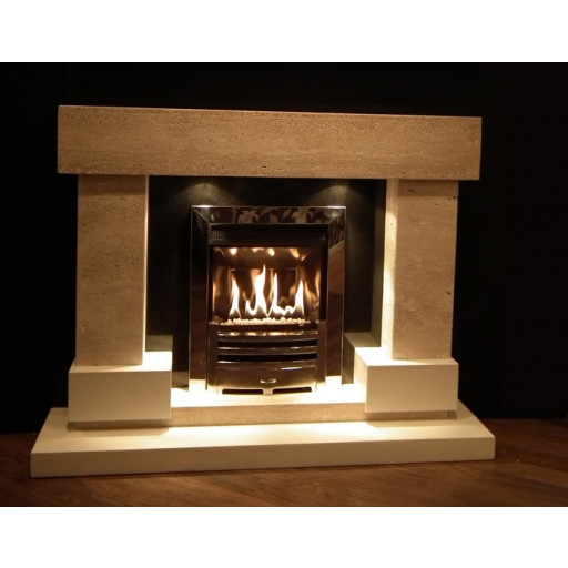 Diablo Travertine & white marble fireplace with lights #FPW