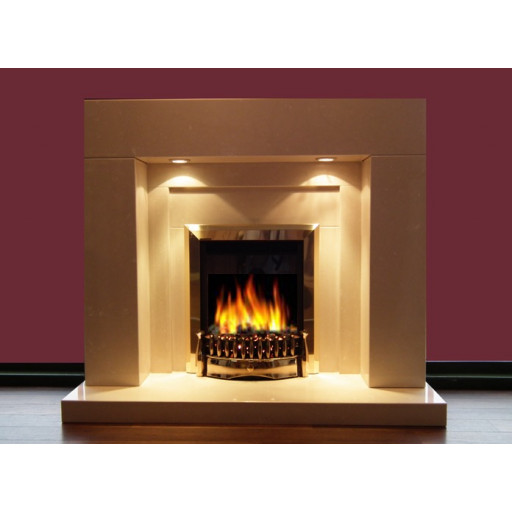 Small Lister limestone fireplace with lights