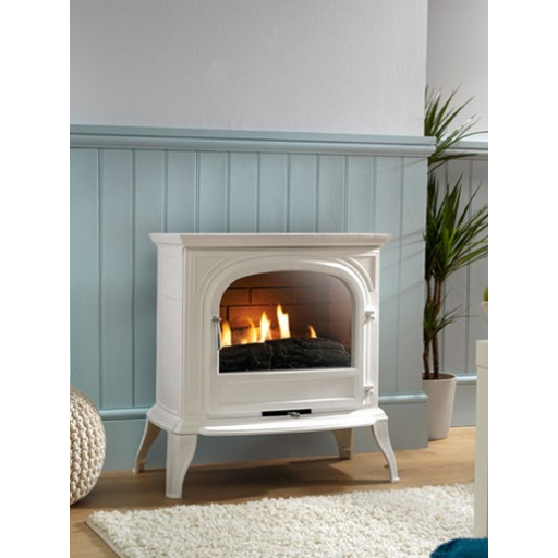 Rosall flueless gas stove in white (clear glass) #FPW