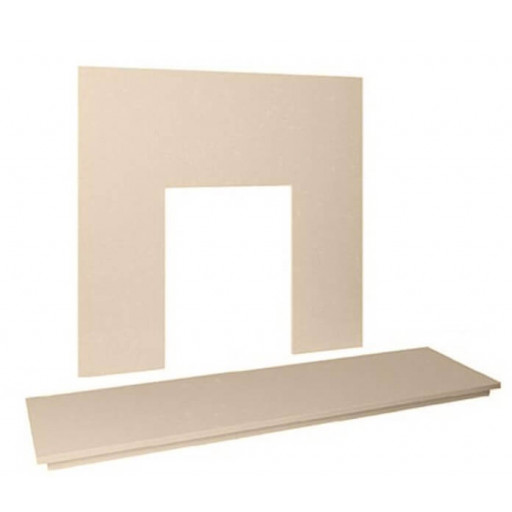 "48"" Marble hearth & back panel set - Beige Stone Marble #FPW"
