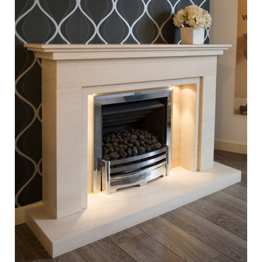 Winlok limestone  fireplace with lights