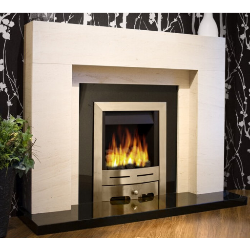 Lister limestone & granite  fireplace with lights