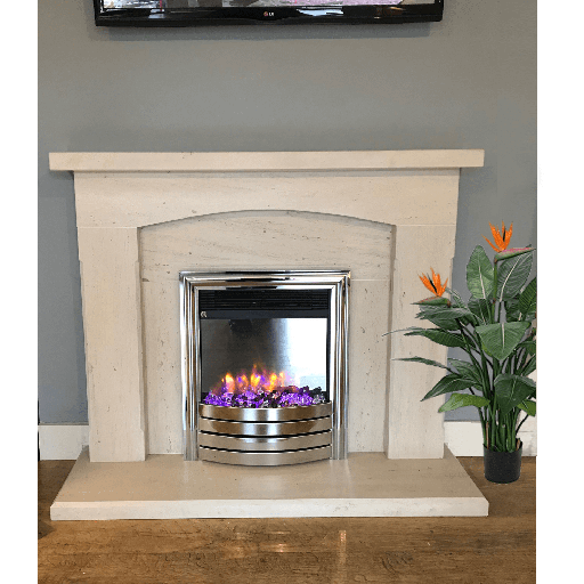 Luxe Limestone fireplace