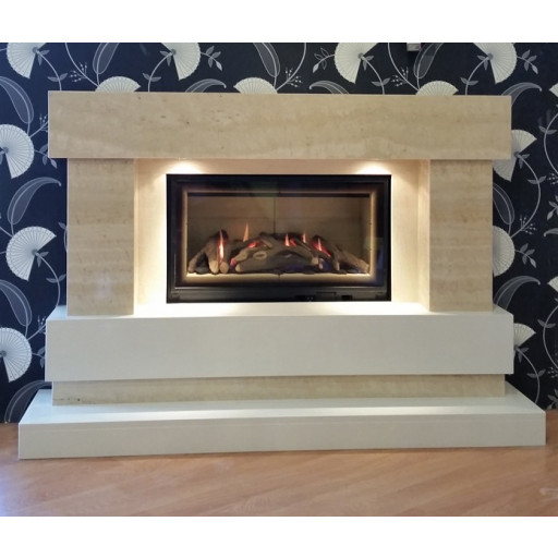 Majestic HE Travertine glass front fire suite #FPW