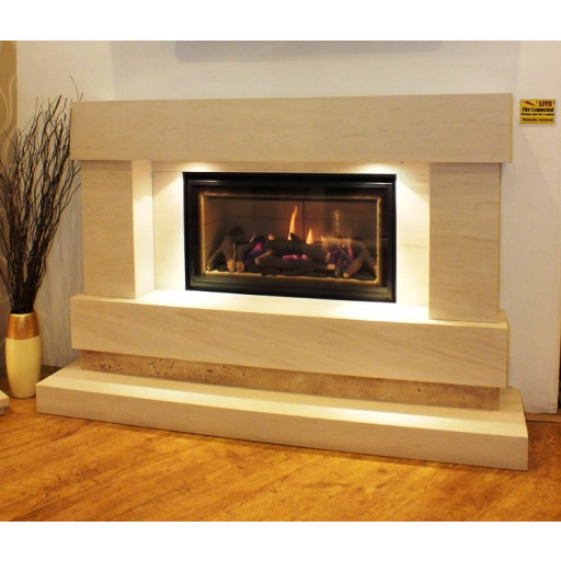 Majestic HE limestone glass front fire suite #FPW