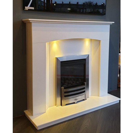 Oregon Marble fireplace with downlights