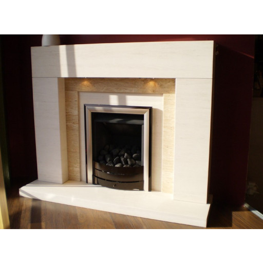 Lister Limestone & Travertine fireplace with lights