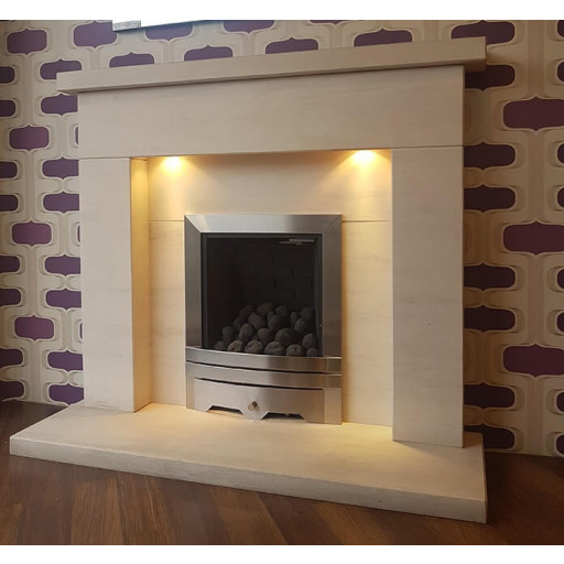 Vaska limestone fireplace & fire  package