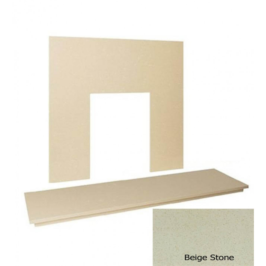 54 Quot Marble Hearth Amp Back Panel Set Beige Stone Marble