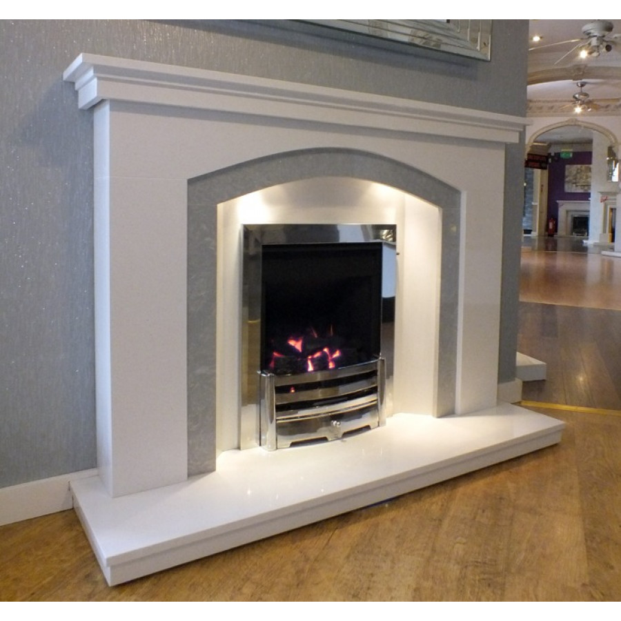 Range Style Cookers >> Dovetail Arch white & grey marble fireplace with lights