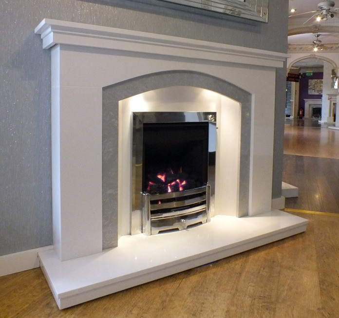 Fine Dovetail Arch White Grey Marble Fireplace With Lights Interior Design Ideas Tzicisoteloinfo