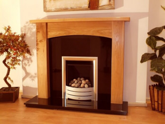 "Abbey 54""  Solid Light Oak fireplace surround"