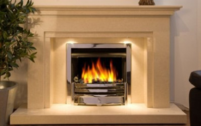 Winlok Bianca beige marble fireplace with lights