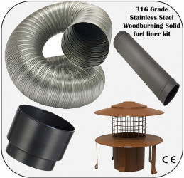 904 Grade Stainless Steel multifuel flue kit - 150mm