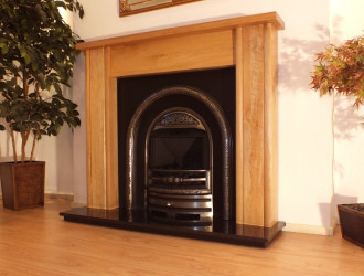 Mote Solid Oak fireplace mantel with Casting