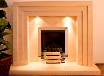 3 Step limestone  fireplace with lights