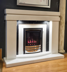 Delrosso White Marble fireplace with lights