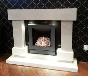 Diablo Bering Grey & white marble fireplace with lights