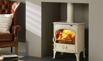 Dovre 250 Ivory White enamel wood burning / multifuel stove
