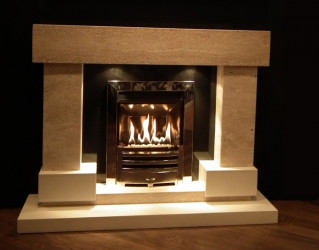 Diablo Travertine & white marble fireplace with lights