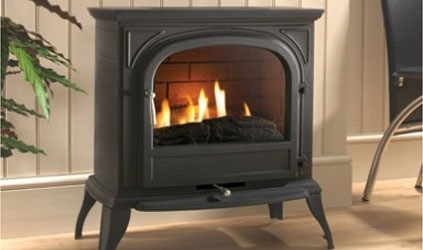 Rosall flueless gas stove in matt black (clear glass)