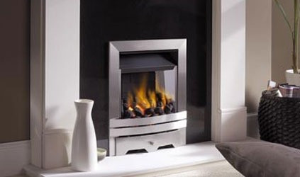 EKO3030 gas fire in Brushed Stainless