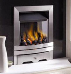 Eko 3010 slim line gas fire - Brushed steel