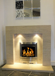 Estonia Polished Mocha Creme limestone fireplace & fire