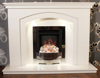 Dovetail Arch marble fireplace with lights