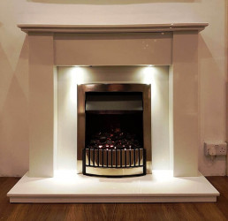 Kanton Marble fireplace with lights