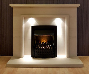 Kibble limestone fireplace with lights
