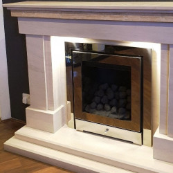 Loma fireplace in natural limestone
