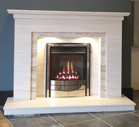 Manhattan limestone & travertine fireplace