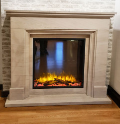Mateo limestone electric fireplace suite