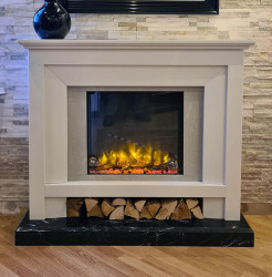 Menora marble electric fireplace suite